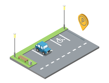 geotag: Vector isometric car parking place with bench and trashcan, blue car, parking geotag, modern 3D flat icon.