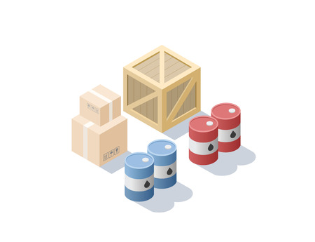 isometric set of different cargo, blue and red oil barrels, carton, wooden box, Transportation icon, delivery service Illustration