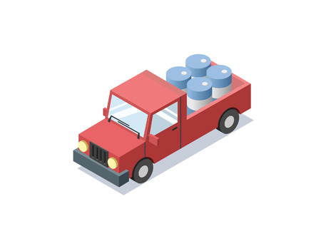 open autocar auto: isometric red wagon car with blue barrels, , trucks for cargo transportation, delivery car icon, 3D flat business illustration Illustration