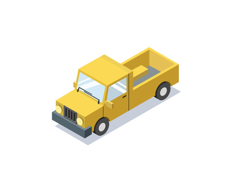 simplex: isometric blue wagon car,, trucks for cargo transportation, delivery car icon, 3D flat business illustration Illustration