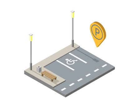 invalid: isometric illustration of car parking place with bench, street light, invalid place, parking geotag, pin.