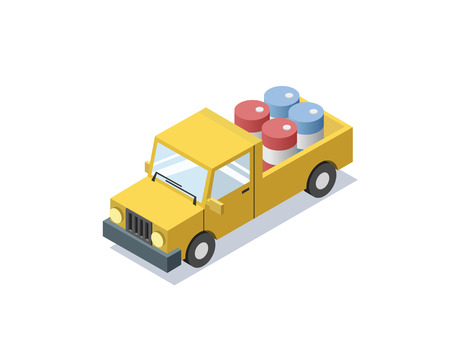 Vector isometric yellow wagon car with blue barrels, minivan, trucks for cargo transportation, delivery car icon, 3D flat business illustration