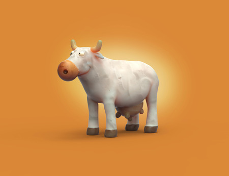 3D cartoon plasticine white cow character, orange background, dairy products icon, funny cow farm animal