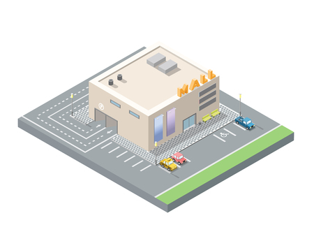 shopping centre: Vector isometric low poly mall, shopping centre with underground car parking, 3d flat design city element Illustration