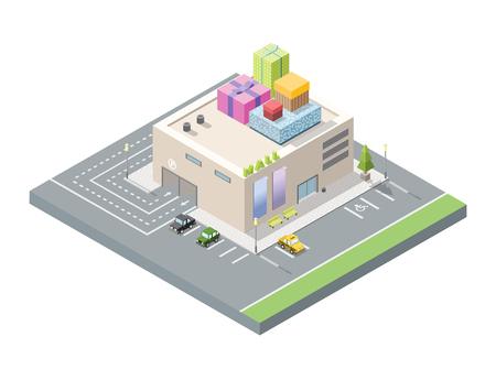 shopping centre: Vector isometric illustration of mall with gift boxes on the roof, 3d flat design shopping centre, car parking area, christmas decoration. Illustration