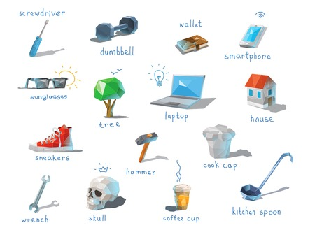 communications tools: Vector polygonal set of different subjects, work end home devices, communications icons, low poly modern illustrations, repair tools, laptop.