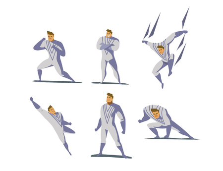 cloak: Vector illustration set of Superhero actions, different poses, business power icons set, cartoon colored style, white costume.