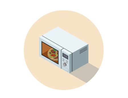 Vector ilustración isométrica de horno de microondas, objeto de diseño 3d plana, equipo de cocina, elemento constructor de la casa.