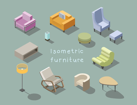 Vector isometric set of modern living room furniture, home constructor, armchair, pouf, floor lamp, coffee table, 3d flat design, rocking chair, interior design elements. Illustration