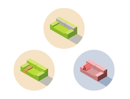 Vector isometric green and pink sofa seat couch, 3d flat interior design element, home constructor object, furniture icon