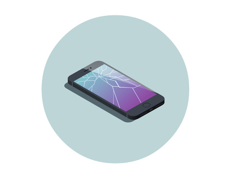 broken screen: Vector isometric illustration of smartphone with broken screen, service for screen repair icon, 3d flat design electronic device object. Illustration