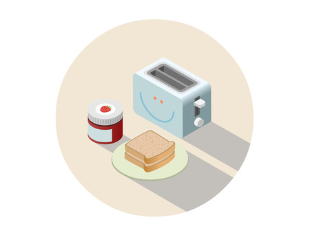 Vector isometric illustration of toaster and breakfast with toasts and jam, 3D flat design household appliances. Illustration