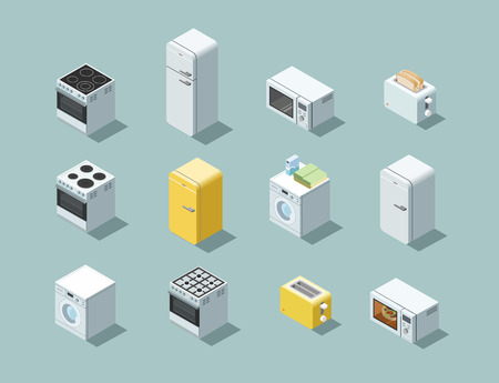 major household appliance: Vector isometric set of household appliances icon, 3d flat interior design object.