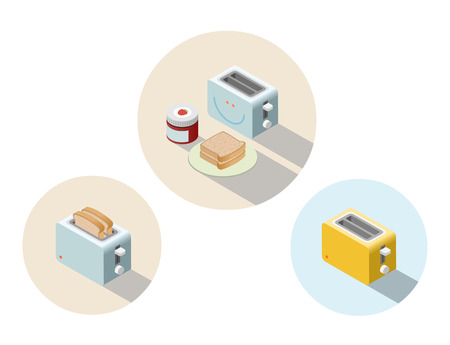 Vector isometric toaster, kitchen equipment icon, home constructor element, 3D flat design household appliances. Illustration