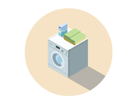 dirty clothes: Vector isometric illustration of washing machine, washing clothes equipment, 3d flat design home object. Washer. Electronic appliances icon. Illustration