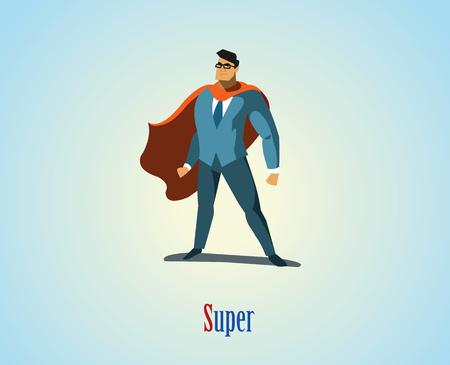 Ilustración del vector de superhéroes hombre de negocios, icono de energía negocio, juego azul con capa roja, Superhéroe personaje de dibujos animados hombre.