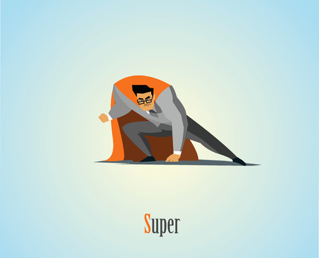 cloak: Vector illustration of businessman superhero, business power icon, blue suit with red cape, Super Hero cartoon man character.