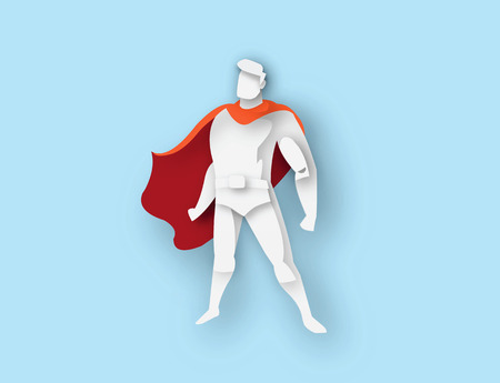 illustration of standing superhero, business power icon,costume with cape, Super Hero cartoon man character, paper style icon Stock Photo
