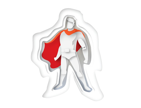 cloak: illustration of standing superhero, business power icon,costume with cape, Super Hero cartoon man character, paper style icon Stock Photo