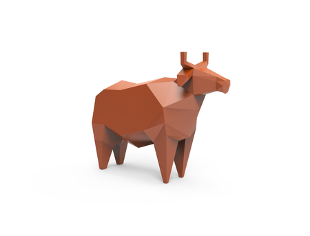 cattle grid: 3D polygonal illustration of brown plastic cow, low poly farm animals icon.