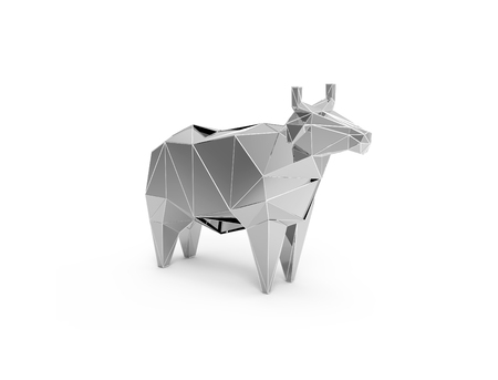cattle grid: 3D polygonal illustration of silver plastic cow, low poly farm animals icon.
