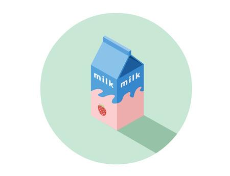 litre: Vector isometric illustration of strawberry milk box, natural milk for breakfast, 3d flat design healthy food icon. Illustration