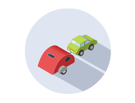 Vector isometric illustration of Camping trailer with car, transport for travel icon.