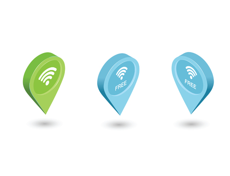 Vector isometric sat of map pointer with wi-fi symbol, 3d flat map geotag icons. Free wi-fi internet connection place Illustration