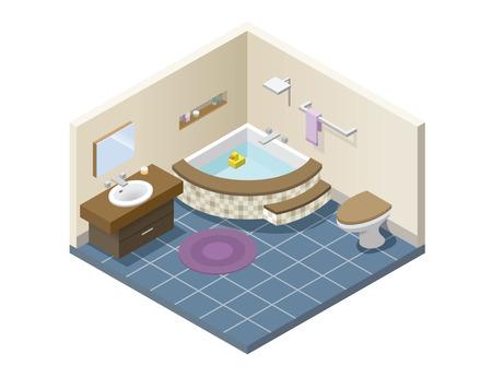 Vector isometric modern bathroom, set of bath furniture, 3d flat interior design.