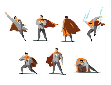 Vektorillustrationssatz Geschäftsmann Superheldaktionen, verschiedene Haltungen, Geschäftsmachtikonen stellten, Karikatur farbige Art ein Vektorgrafik