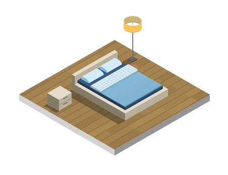hotel room: isometric illustration of hotel room, Flat 3d, interior design, hotel icon, accommodation. Set of bedroom furniture, Cozy room