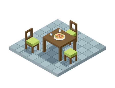 Vector isometric illustration of kitchen furniture, 3d flat design home element, , interior design, eating place. Table and chairs Illustration