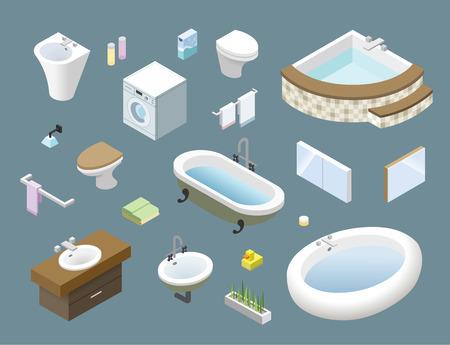 Vector isometric set of bathroom furniture, 3d flat interior design home icons. Иллюстрация