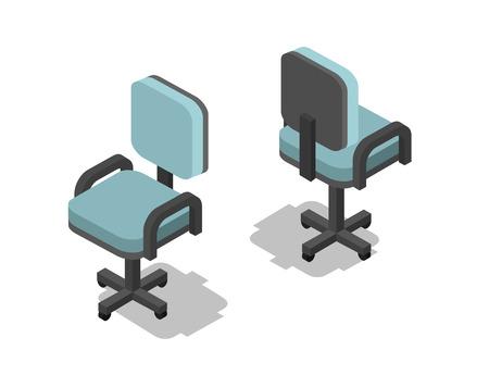 사무실의 자, 3D 평면 가구 아이콘 벡터 아이소 메트릭 그림. 인테리어 디자인, 정보 그래픽 및 게임.