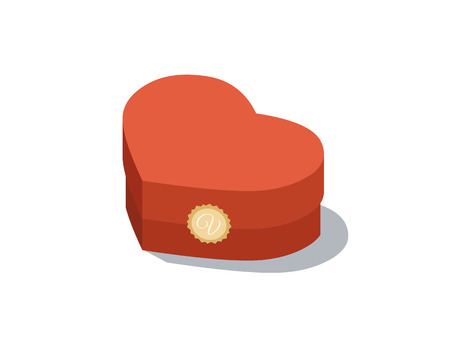 heard: Vector isometric illustration of Valentins day gift box red heard.