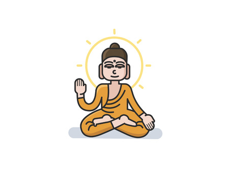 mantra: Vector illustration of Buddha sitting in the lotus position.