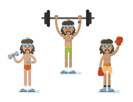 Vector set of funny cartoon man characters doing exercise, sport gym icons