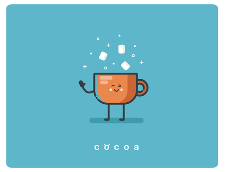 Vector flat icon friendly cup of cocoa character
