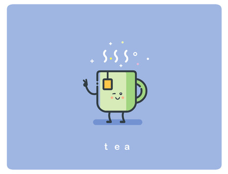Vector flat icon friendly cup of tea character Ilustração