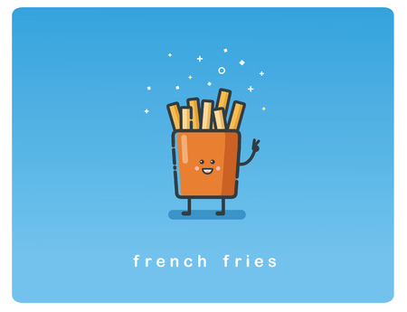 Vector flat icon of french fries funny character Ilustração