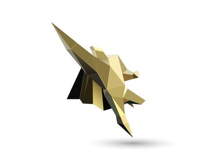 Vector illustration of gold flying superhero character, business power icon, Super Hero man figure Illustration