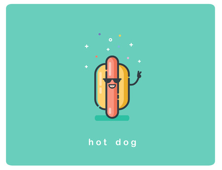 Vector flat icon of hot dog character with sunglasses and smile Ilustração