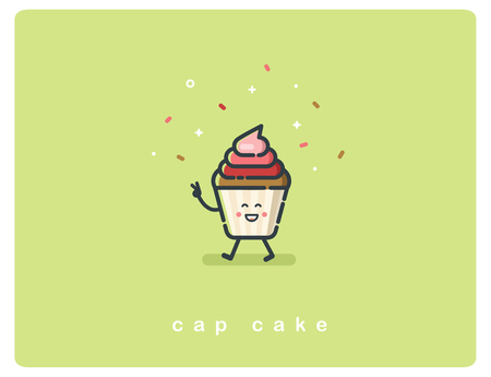 Vector flat cup cake character, bakery food icon