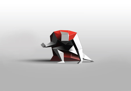 Vector polygonal illustration of  superhero, business power icon, red cape metallic texture, Super Hero low poly man character