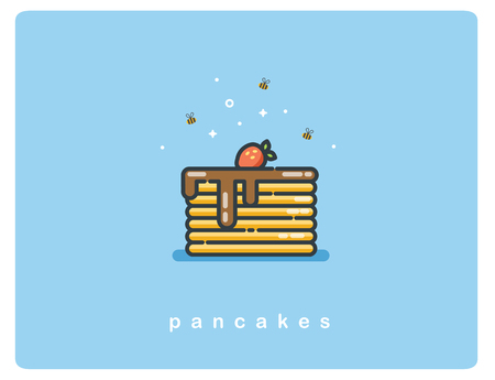 Vector flat icon of pancakes with chocolate syrup and strawberries, cartoon food icon