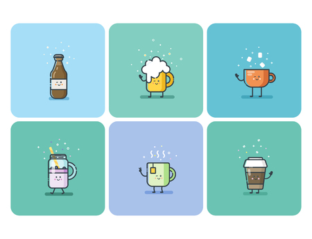 Vector set of cold and hot drinks, beverage flat icons, cute cartoon character
