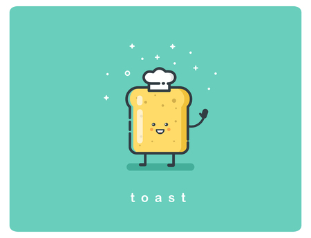 Vector illustration of bread toast funny character, food flat icon