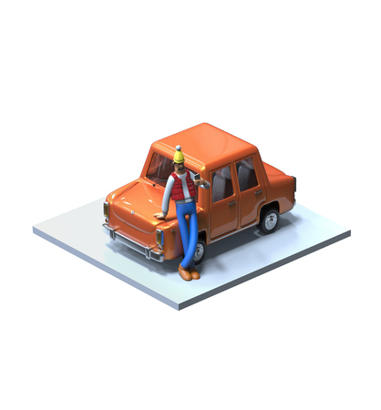 3d isometric car with cartoon man character. Car repair service icon.