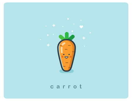 Vector flat icon of carrot, cute vegetable cartoon character, baby meal menu Ilustração