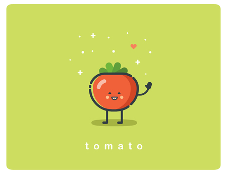 Vector flat icon of tomato, cute vegetable cartoon character, baby meal menu